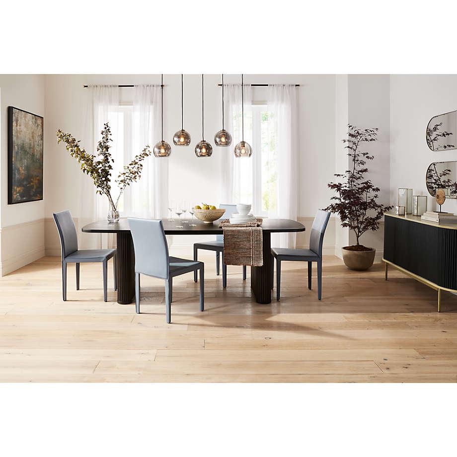 Folio Slate Blue Top Grain Leather Dining Chair