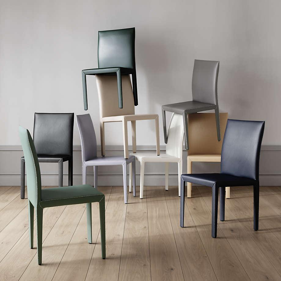 Folio Dark Green Top Grain Leather Dining Chair