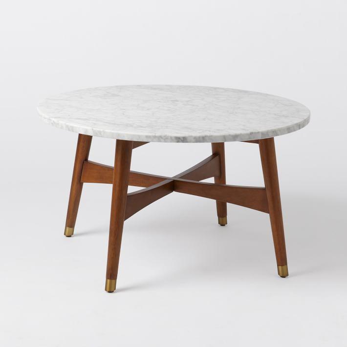 West Elm Reeve Mid Century Coffee Table Marble Lazysuzy